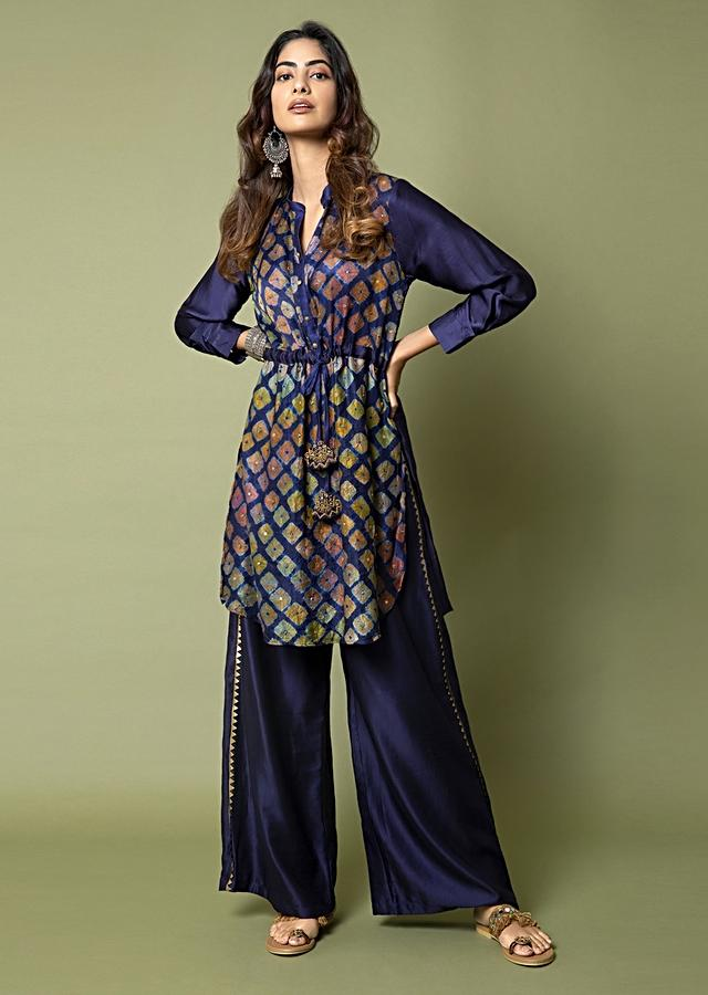 Navy Blue Tunic And Box Pleat Palazzo Set Featuring Water Color Effect Bandhani And Hand Embroidery Online - Kalki Fashion