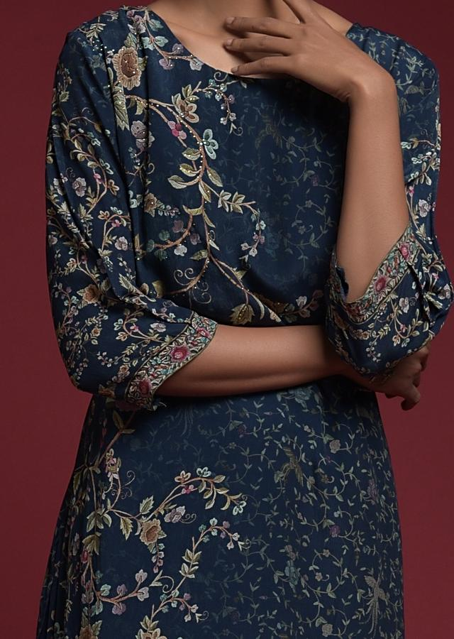 Navy Blue Tunic Dress In Georgette Crepe With Floral Print And Attached Underlayer Online - Kalki Fashion