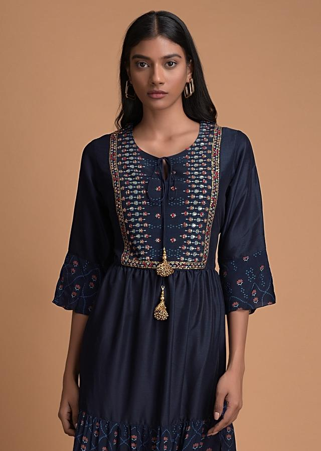 Navy Blue Tunic Dress With Printed Moroccan Print And Embroidered Placket Online - Kalki Fashion