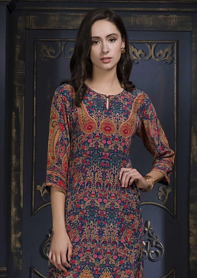 Navy Blue Tunic With Floral And Paisley Print And Beads Work Online - Kalki Fashion