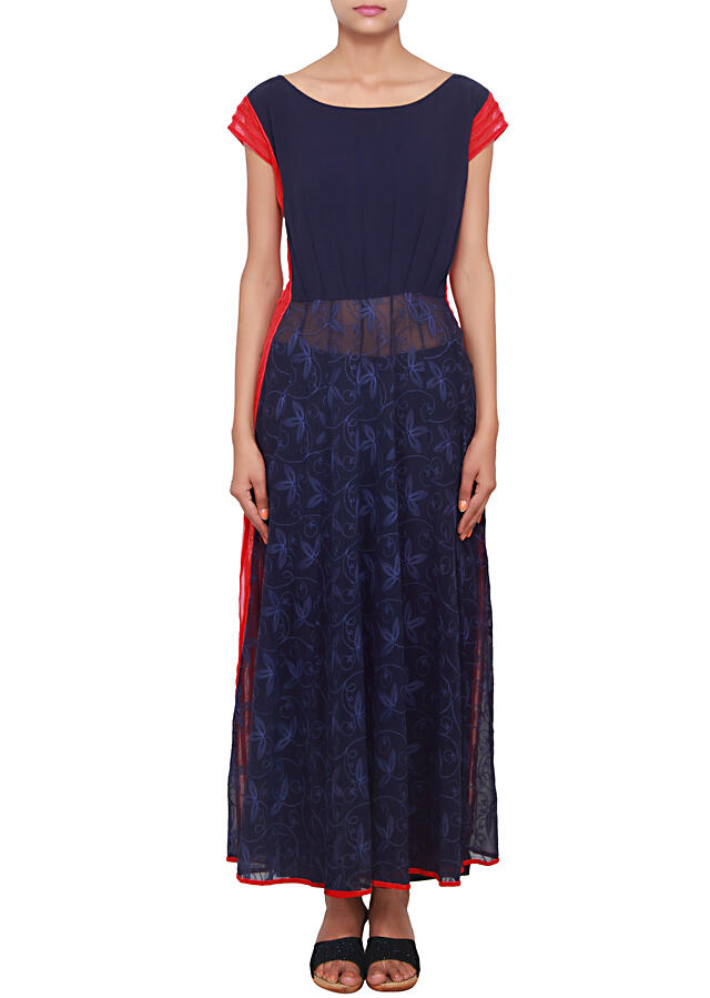 Navy bue straight fit kurti embeliished with thread work only on Kalki