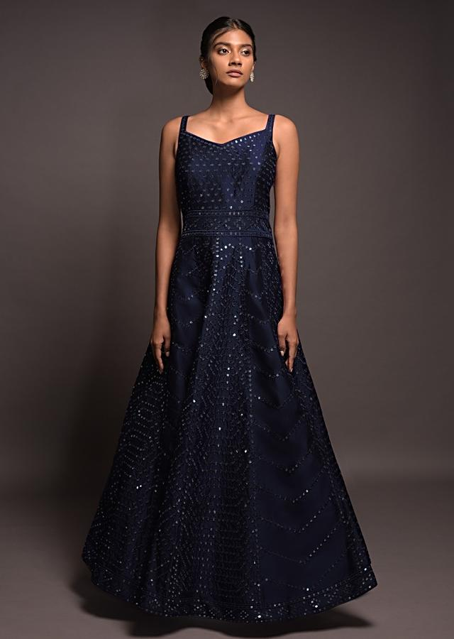 Navy Blue Anarkali Suit In Silk With Abla Embroidered Geometric Pattern Online - Kalki Fashion