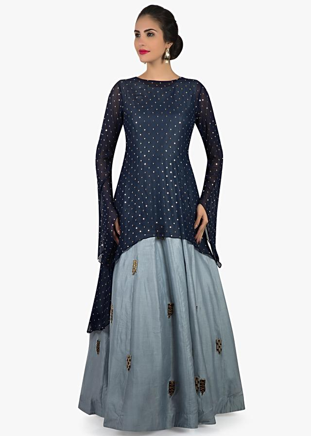 Navy blue and glass blue suit in sequin and embroidered butti only on Kalki