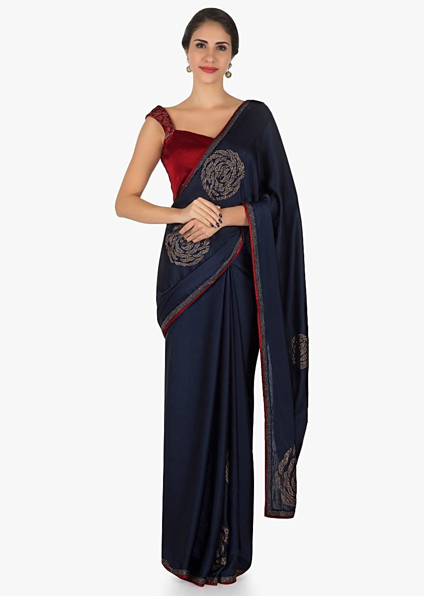 Navy Blue And Red Saree In Satin With Unstitched Blouse Crafted In