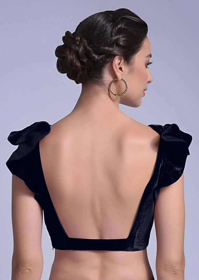 Navy Blue Blouse In Velvet With A Trapeze Neck And Ruffle Sleeves Online - Kalki Fashion
