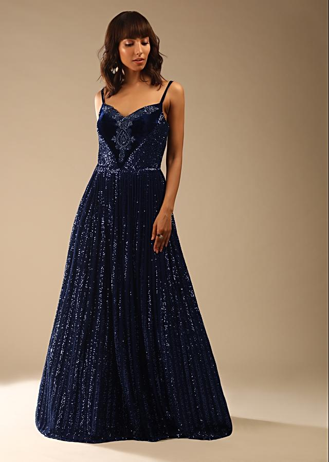 Navy Blue Corset Gown In Sequins Embellished Net With Cut Dana Embroidered Velvet Patch On The Bodice Online - Kalki Fashion