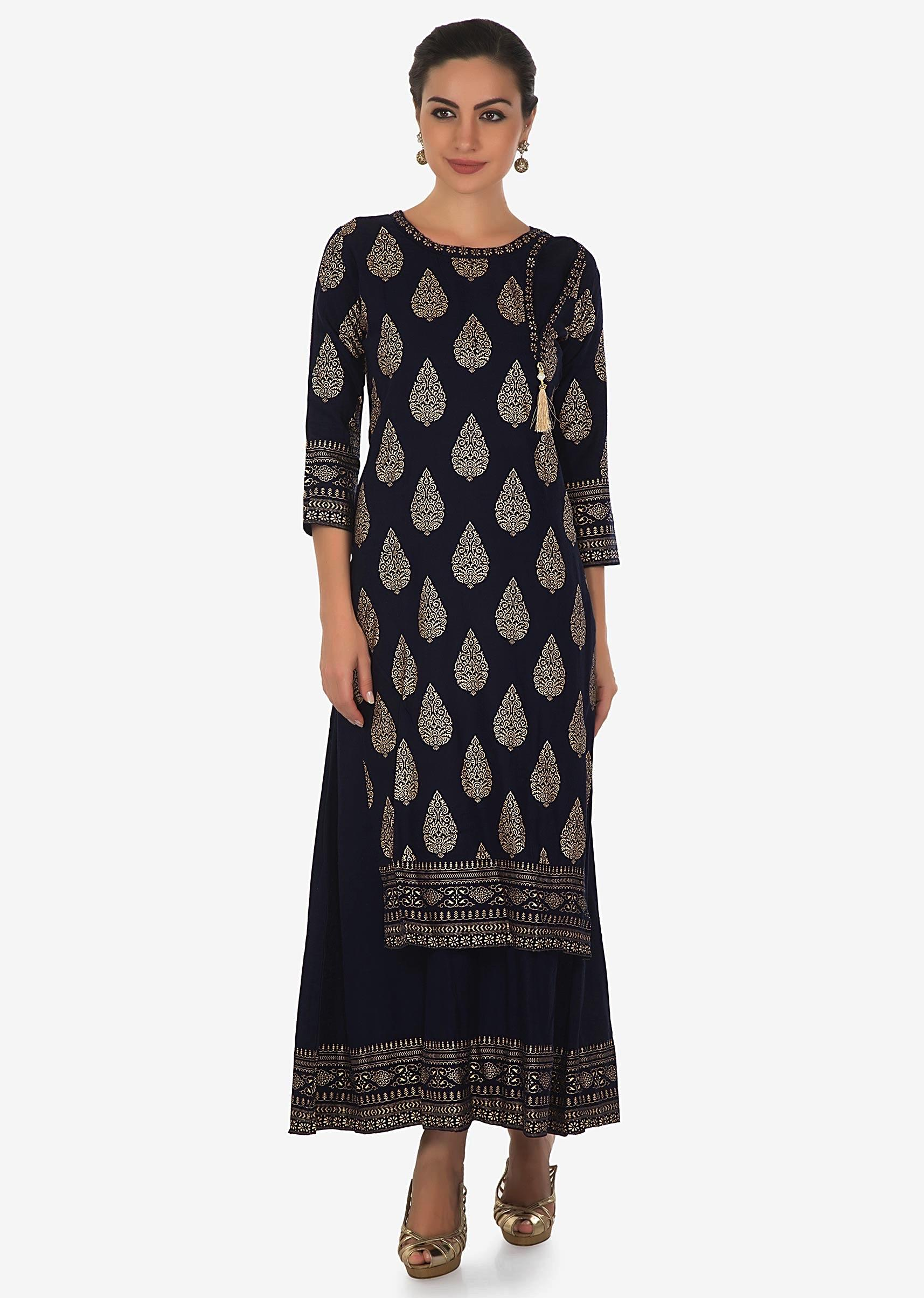eb75dc9b6f Navy blue double layer suit in foil print only on KalkiMore Detail