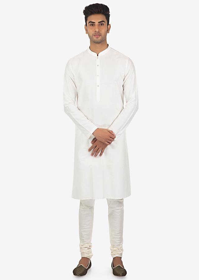 Navy Blue Sherwani In Fancy Fabric And White Solid Churidar Set Online - Kalki Fashion