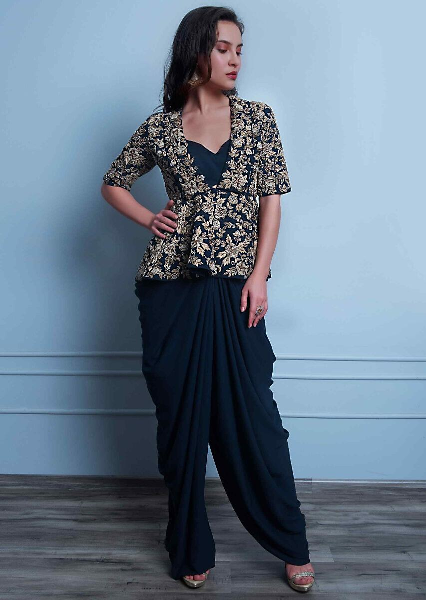 524eb1a880 Navy blue georgette dhoti and bustier paired with peplum style heavy  embroidered jacket only on KalkiMore Detail