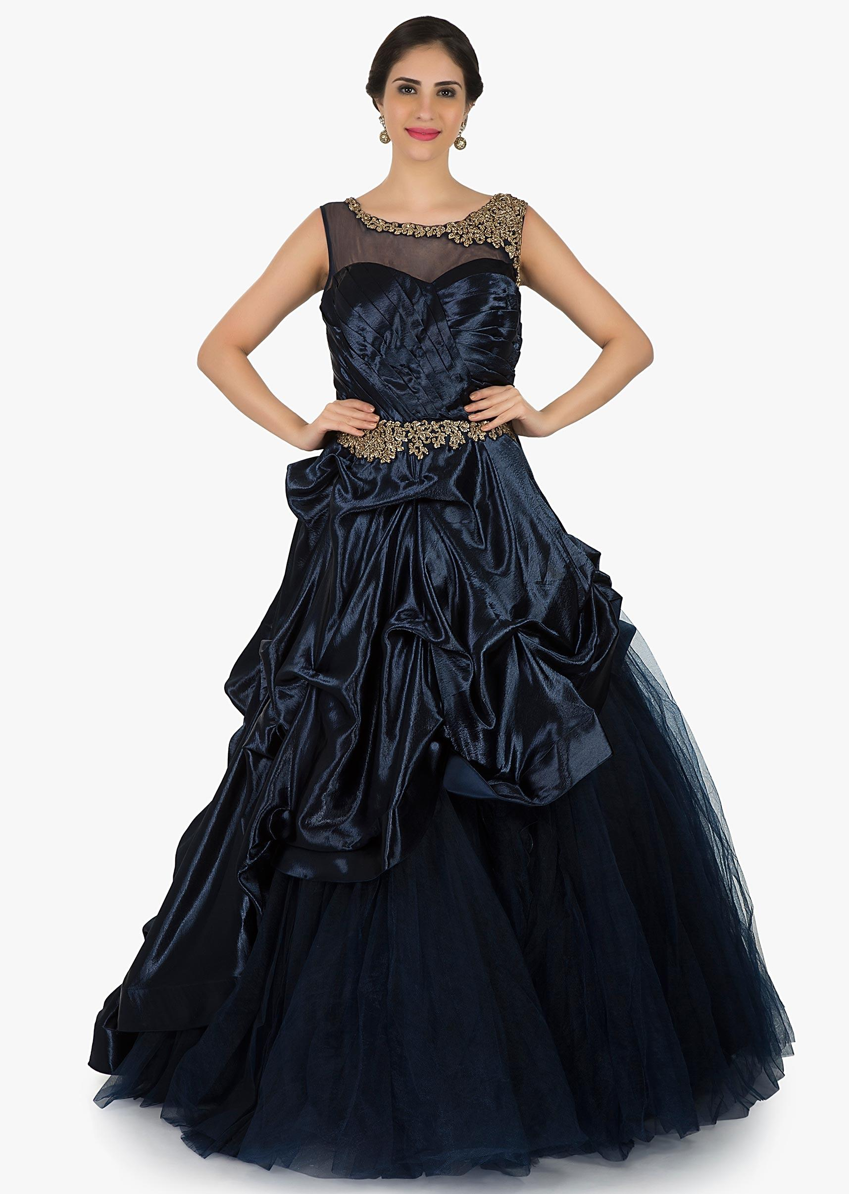 Navy Blue Gown In Net Amazingly Crafted Using The Zardosi Embroidery