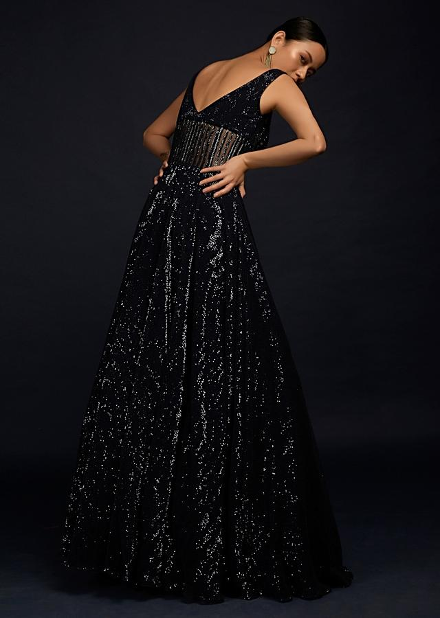 Navy Blue Gown In Sequins Fabric With Cut Dana Embellished Sheer Waist And Deep Sweetheart Neckline Online - Kalki Fashion