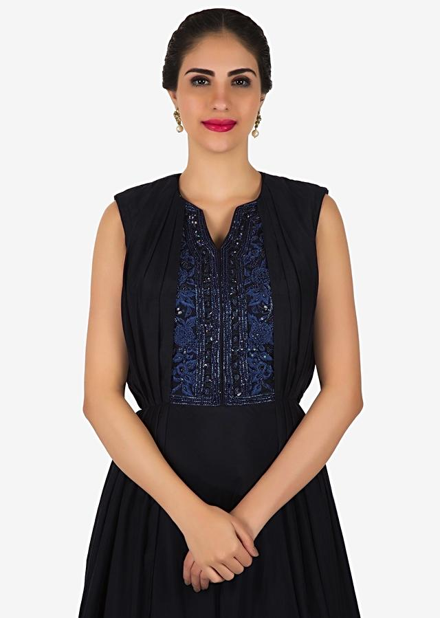 Navy Blue Gown In Silk Adorn In Pleats And Embroidered Placket Online - Kalki Fashion