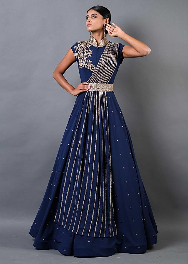 Navy Blue Indowestern Gown With Embellished Pleated Drape Online - Kalki Fashion