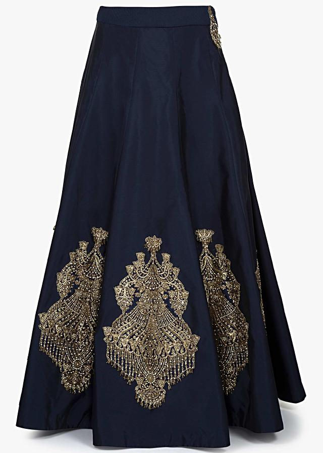 Navy blue lehenga in silk with ready blouse enhaced in heavy embroidery only on Kalki