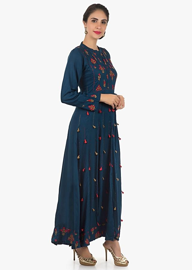 Navy Blue Long Dress In Cotton With Resham Embroidered Butti In Floral Motif Online - Kalki Fashion