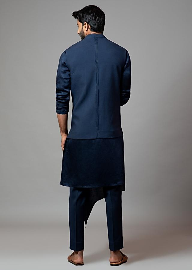 Navy Blue Nehru Jacket With Mughal Inspired Aari Embroidery And Cut Work Technique By Smriti Apparels