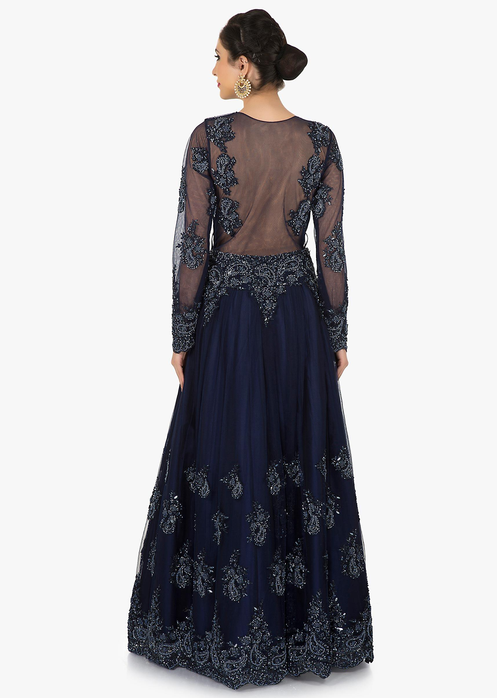 35dc5a3431 Navy Blue net gown crafted in beautiful moti and cut dana embroidery work  only on KalkiMore Detail