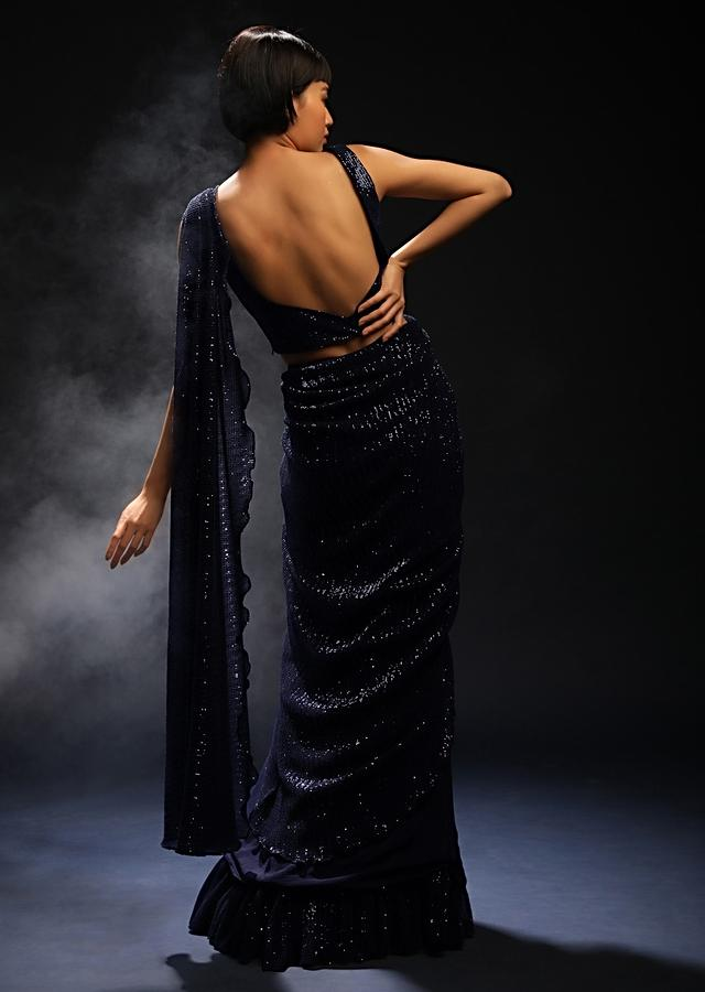 Navy Blue Ready Pleated Saree In Crepe With Sequins Embellished Pallu, Frill On The Hemline And Ready Blouse Online - Kalki Fashion