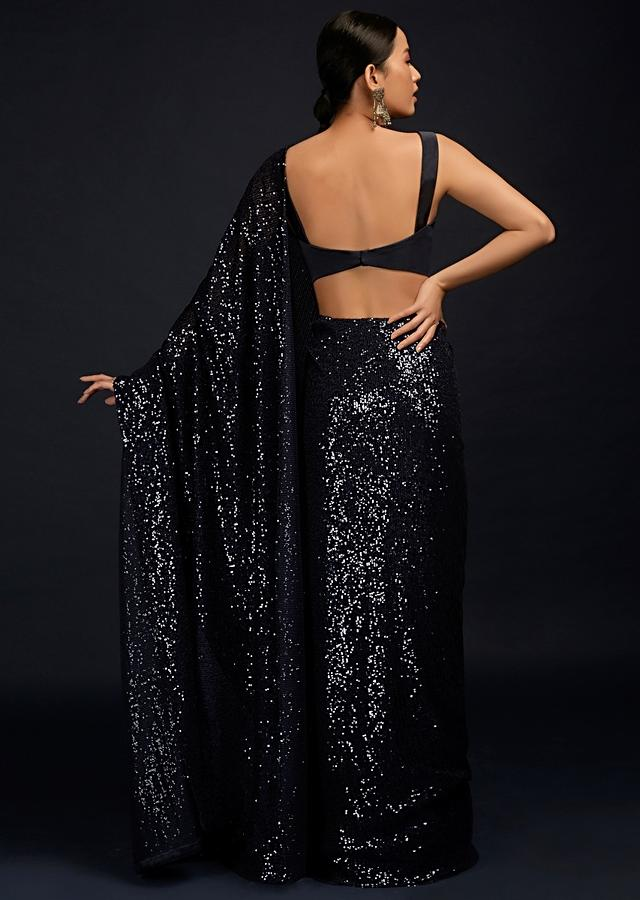 Navy Blue Ready Pleated Saree In Sequins Fabric And Matching Milano Blouse With Sweetheart Neckline Online - Kalki Fashion