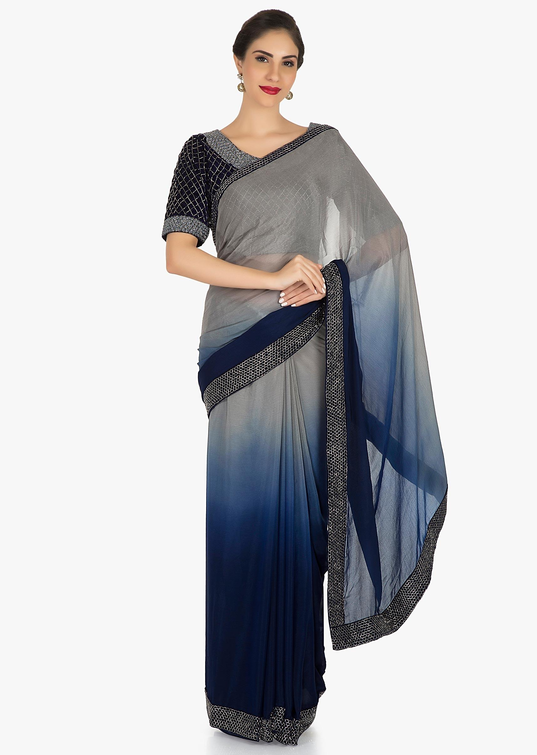 de599e87f6f9ed Navy Blue saree in georgette with ready stitched blouse adorn in cut dana  embroidery work only on KalkiMore Detail