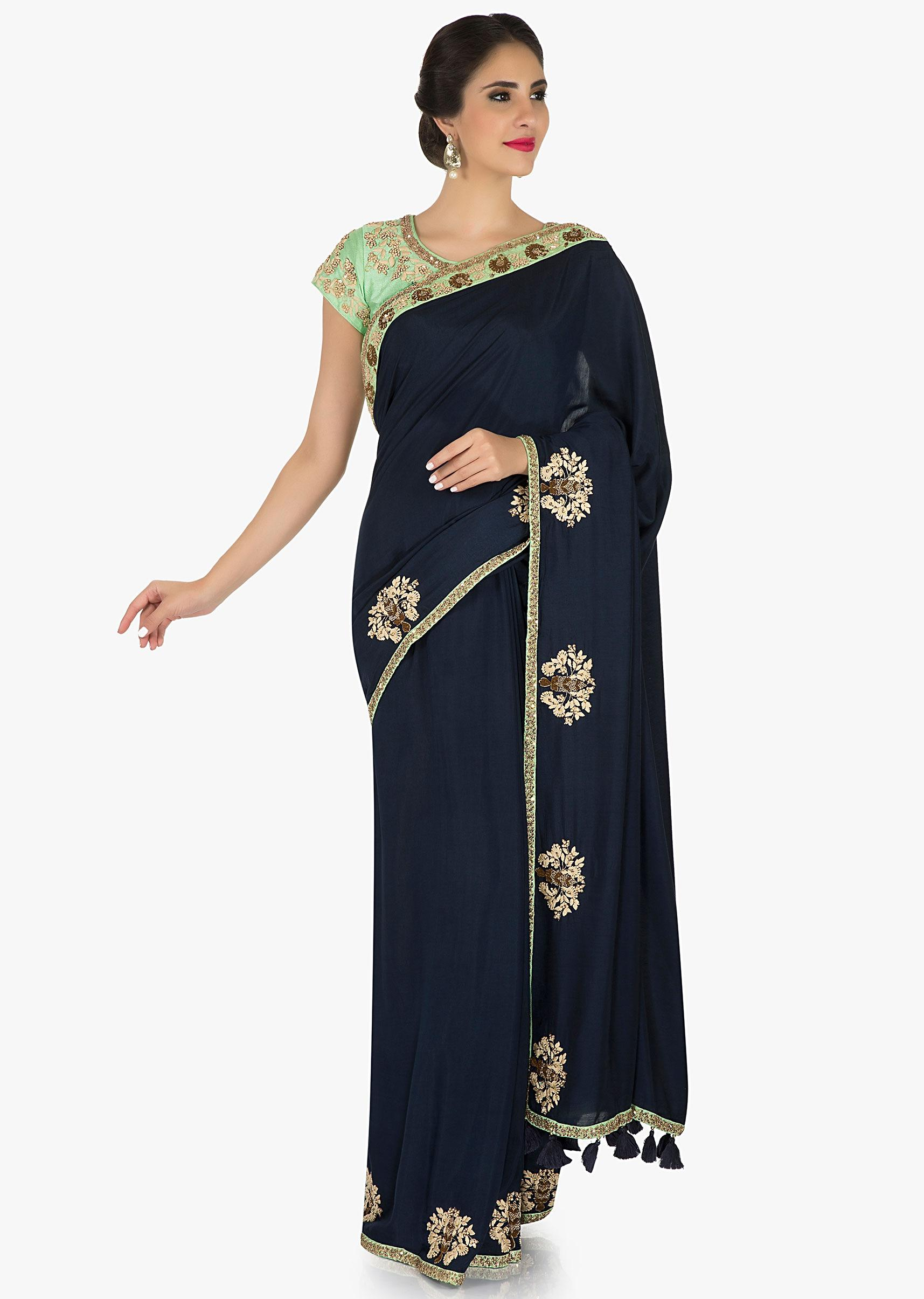 9316fb6730b19c Navy blue saree cotton saree with pista green blouse adorned in zari and  thread butti work only on KalkiMore Detail