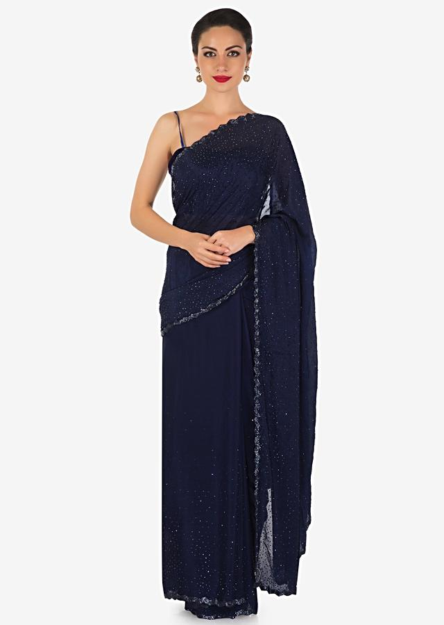 Navy Blue Saree In Satin Chiffon With Kundan And Cut Dana Border Online - Kalki Fashion