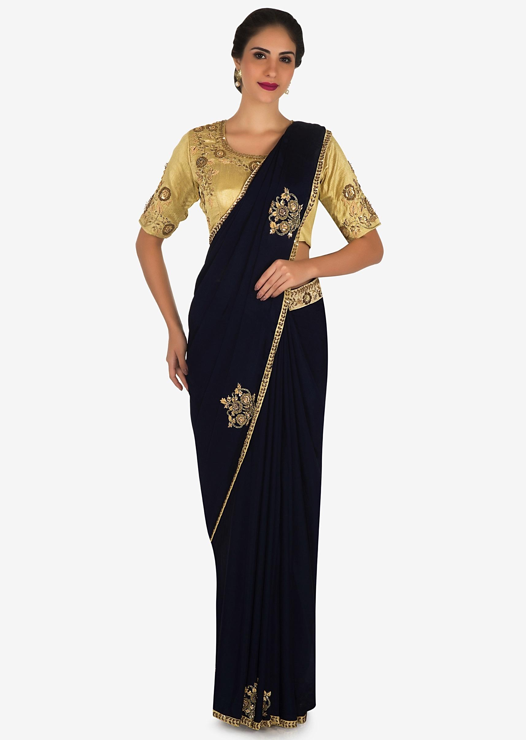 96fcebc1c9921d Navy blue saree in satin silk with a beige blouse embroidered with zardosi  and sequin work ...