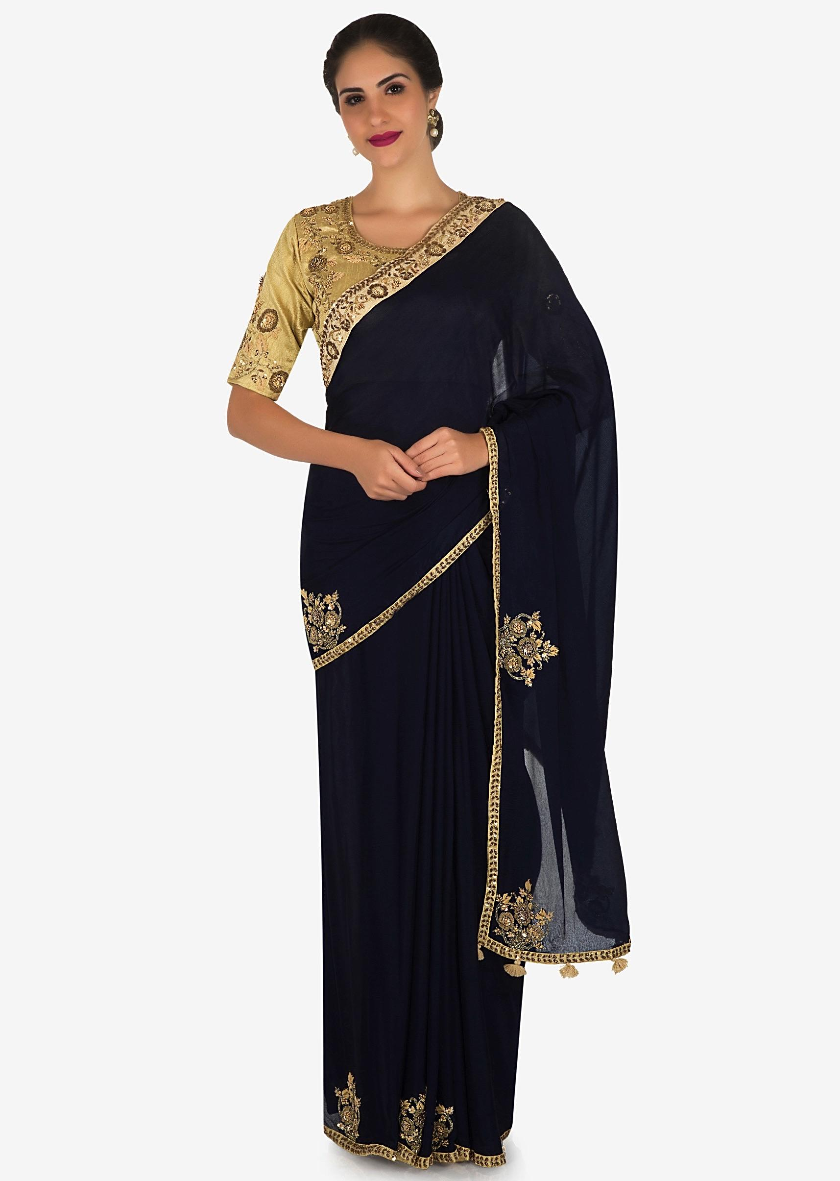 879d6a616b9eaa Navy blue saree in satin silk with a beige blouse embroidered with zardosi  and sequin work only on KalkiMore Detail