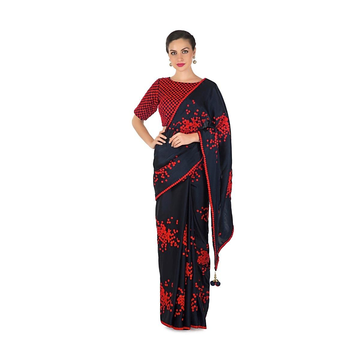 a1662049b86889 Navy blue saree in satin with ready blouse in red thread work only on KalkiMore  Detail