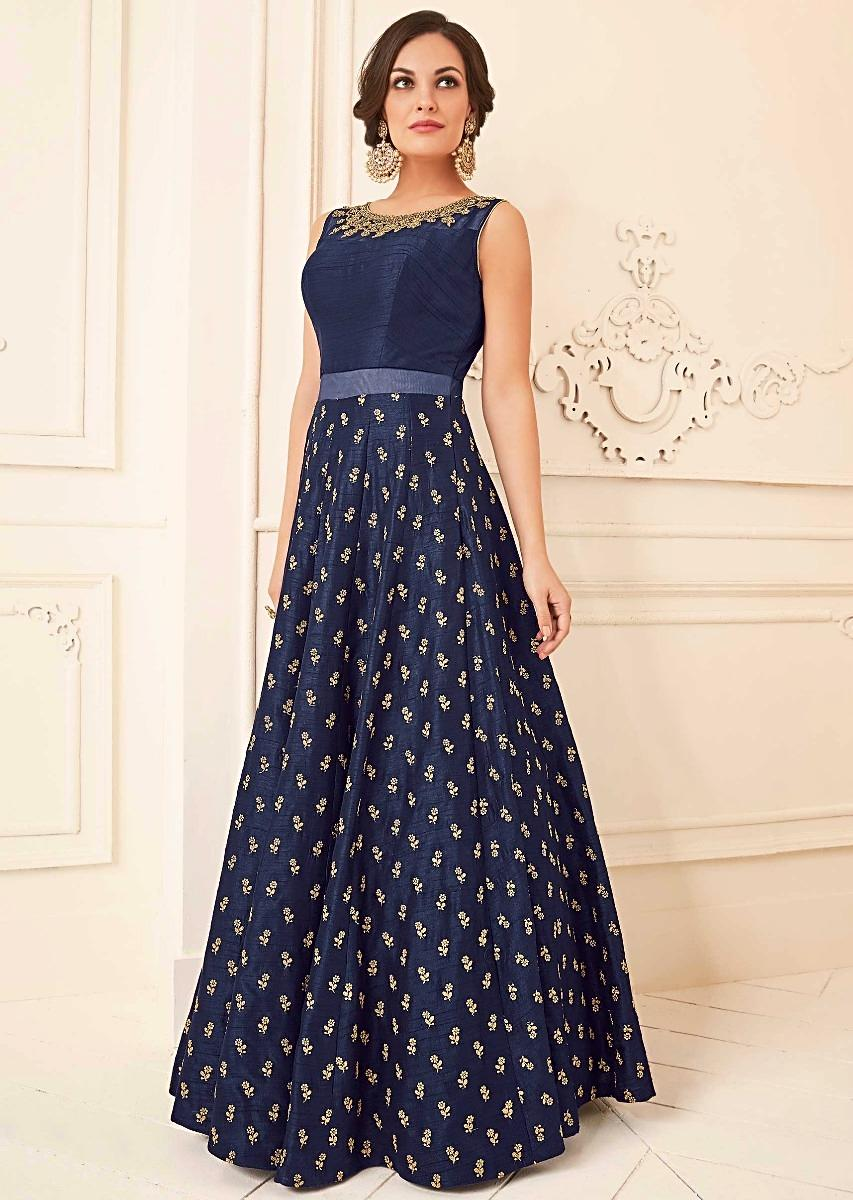d4a048fea9 Navy blue silk anarkali suit with adorn in kundan and zari embroidery