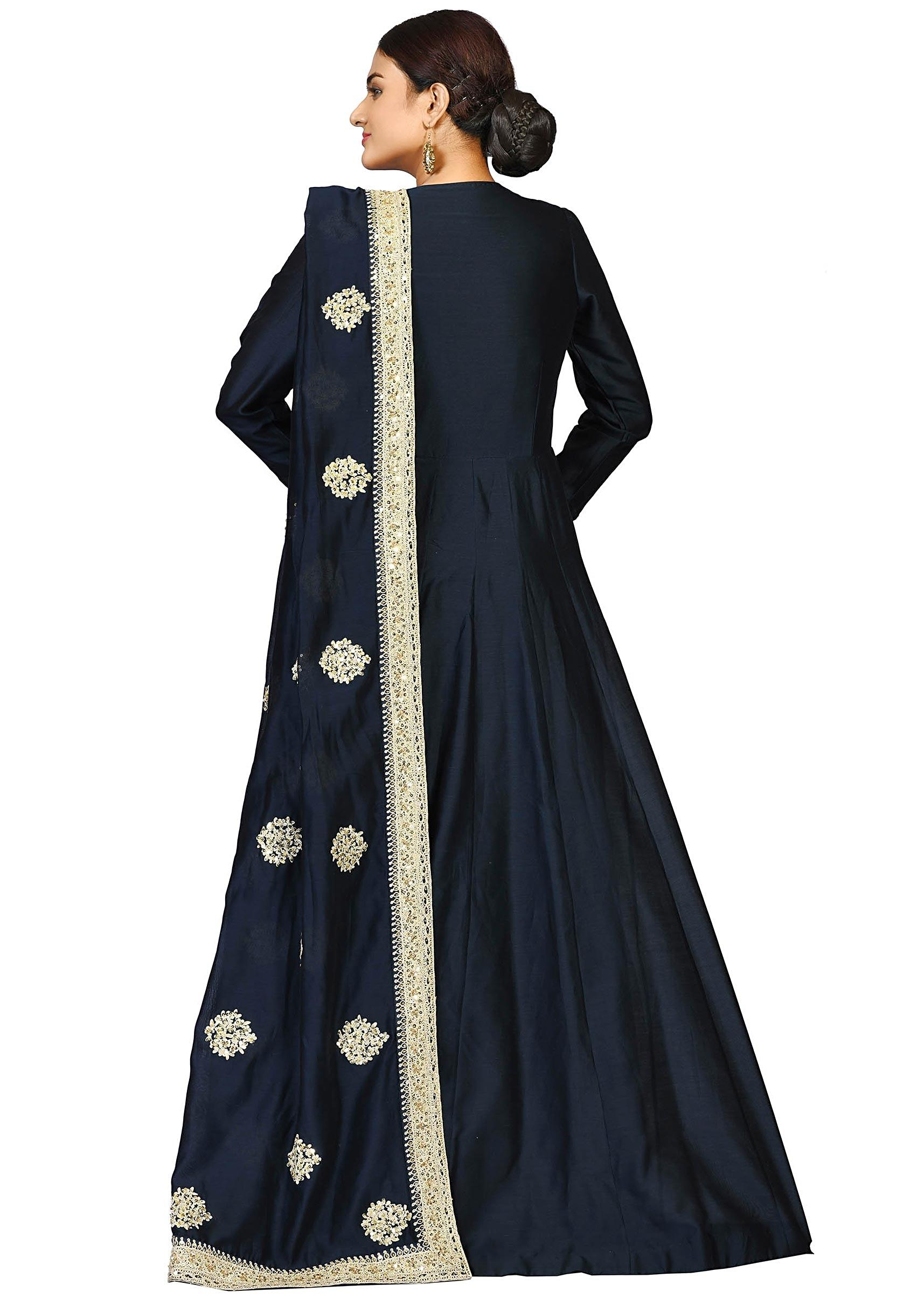 de1c170a73 Navy blue suit in chanderi featuring the flawless zari and sequin work only  on Kalki