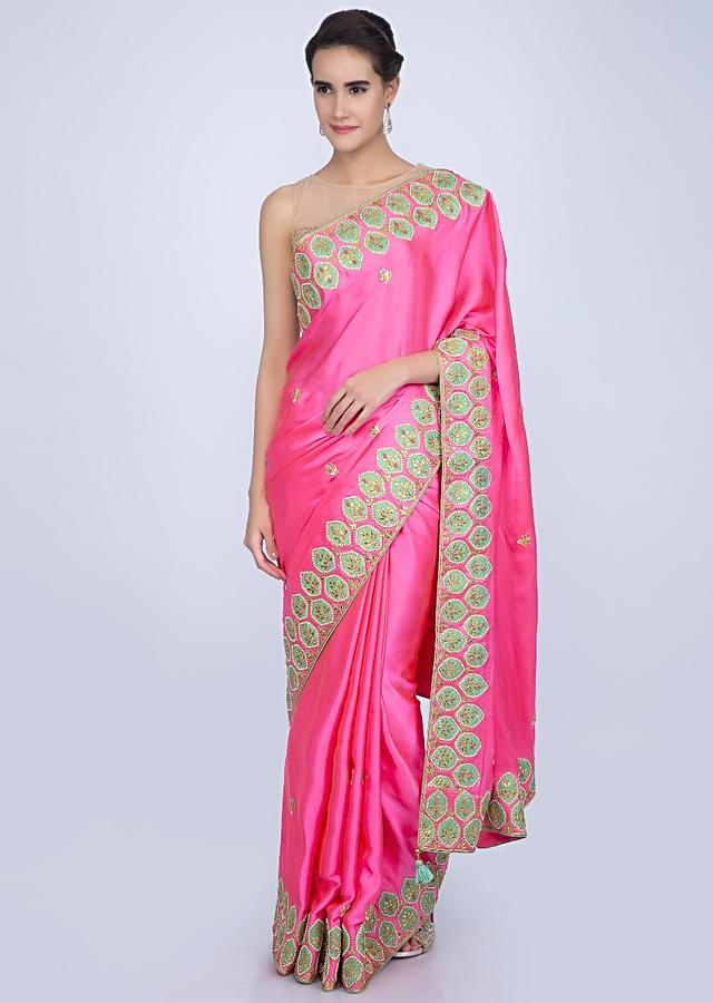 Neon Pink Satin Saree With Embroidery And Butti Online - Kalki Fashion