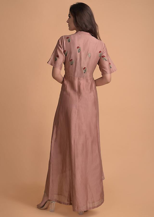 New York Pink Tunic In Cotton With Embroidered Buttis And High Low Hem Online - Kalki Fashion
