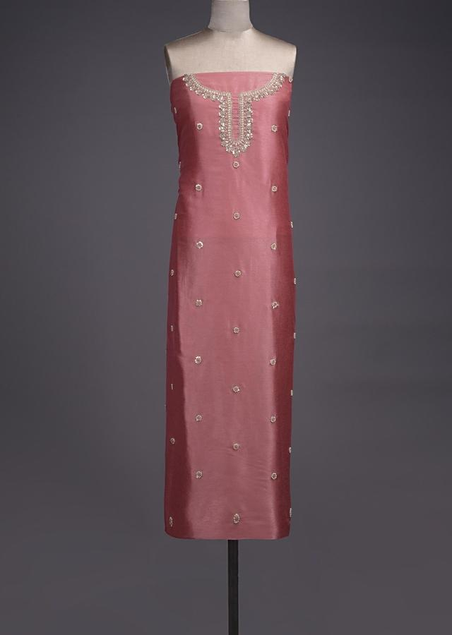 New York Pink Unstitched Suit With Pearls, Zari And Thread Embroidered Floral Buttis Online - Kalki Fashion
