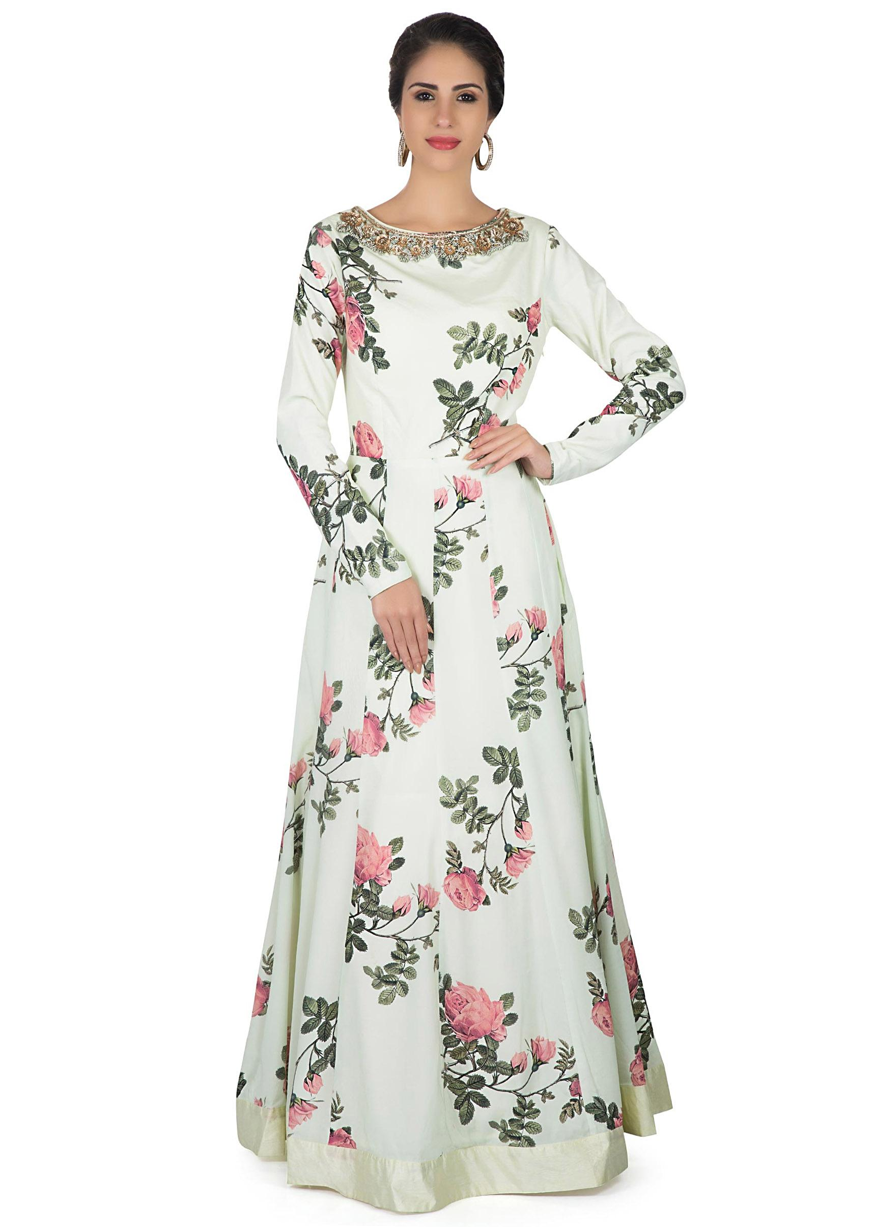 50c6fb20fe Nile green anarkali gown embellished in floral print and embroidered  neckline only on KalkiMore Detail