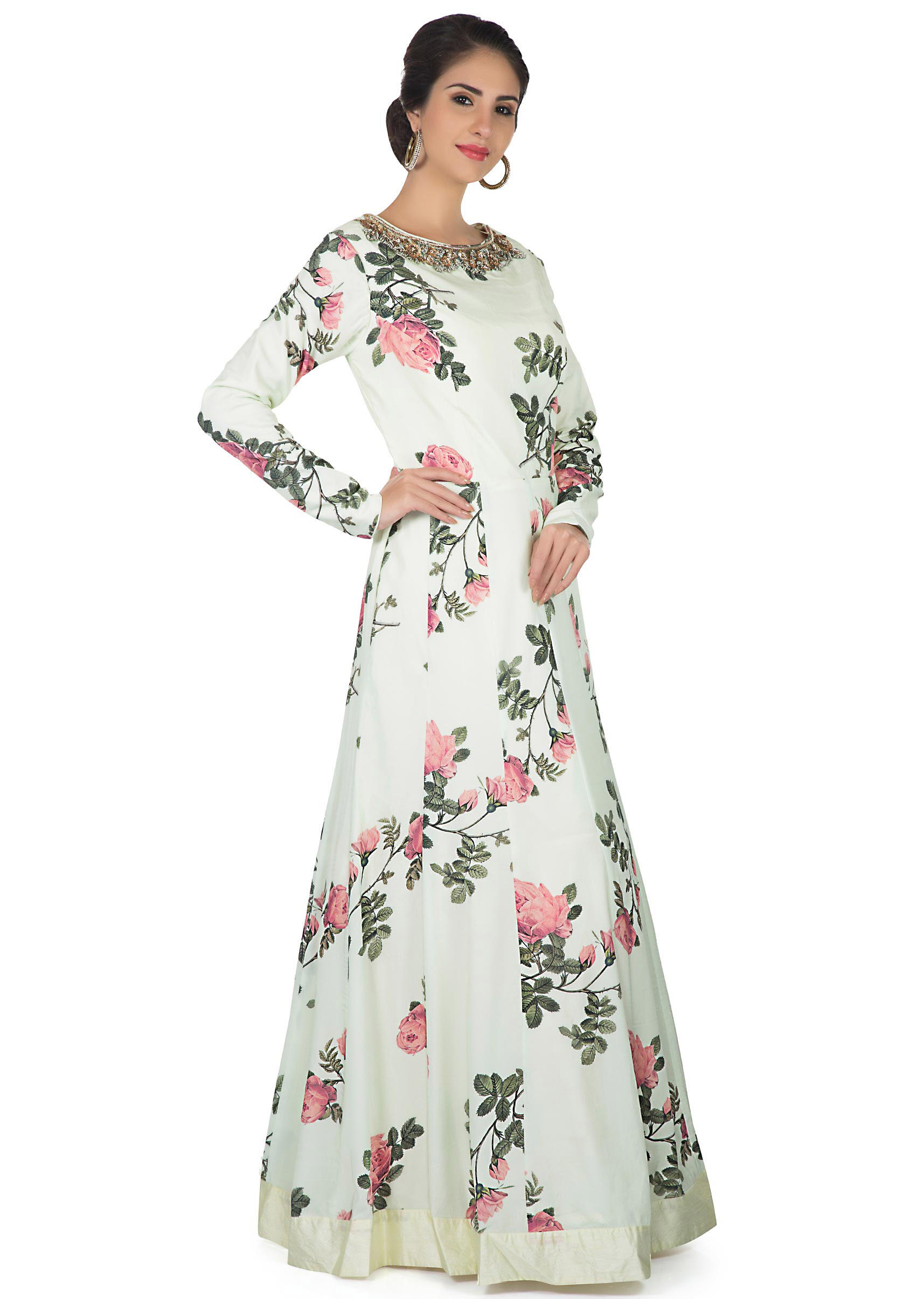 5c14fdfdcd Nile green anarkali gown embellished in floral print and embroidered  neckline only on Kalki