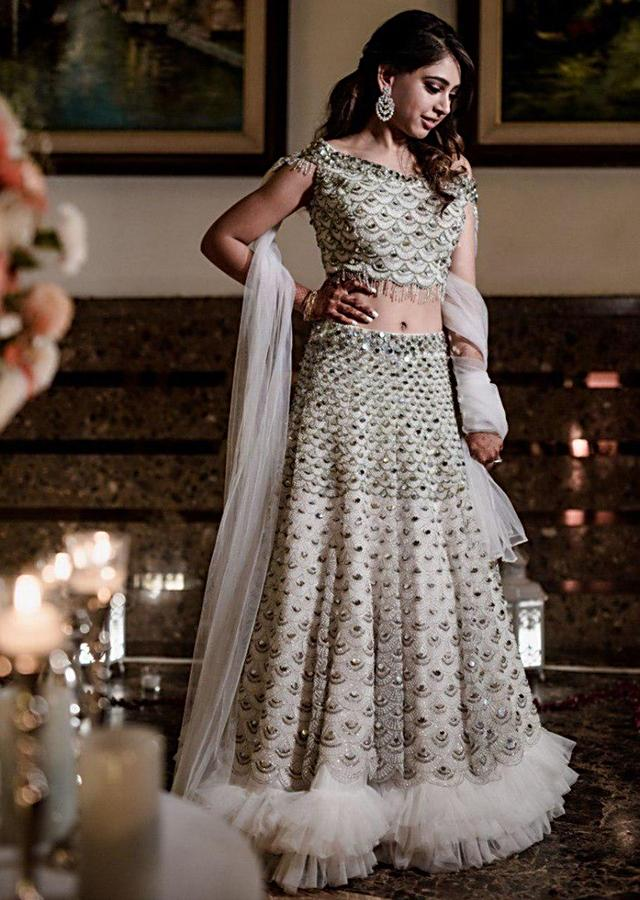 Niti Taylor In Kalki Powder Blue Lehenga In Scallop Embroidered Net With Matching Net Blouse With Fancy Attached Dupatta