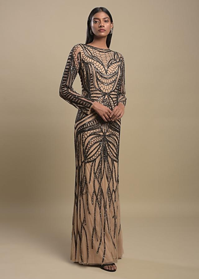Nude Beige Evening Gown In Net Heavily Embellished With Black Beads And Sequins Online - Kalki Fashion