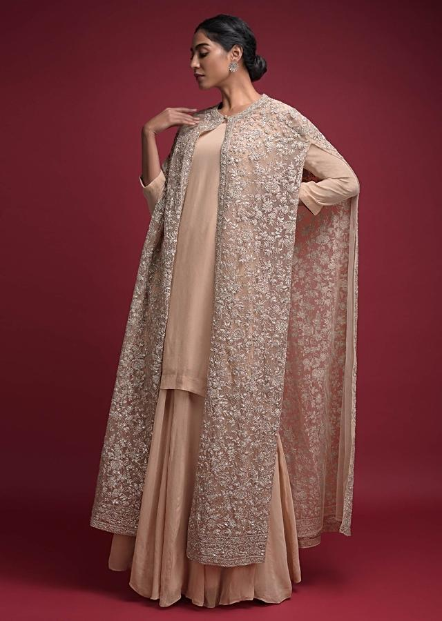 Nude Beige Palazzo Suit In Georgette With A Long Cape In Floral Jaal Embellished Net Online - Kalki Fashion