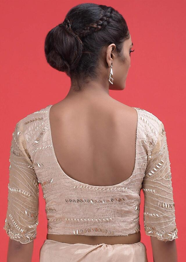 Nude Beige Saree In Silk With Feather Fringes And Embellished With Sequins And Beads Online - Kalki Fashion
