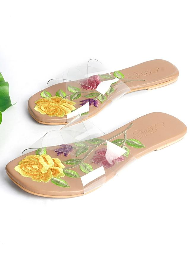Nude Flats With Transparent Cross Strap And Resham Embroidered Sole By Sole House