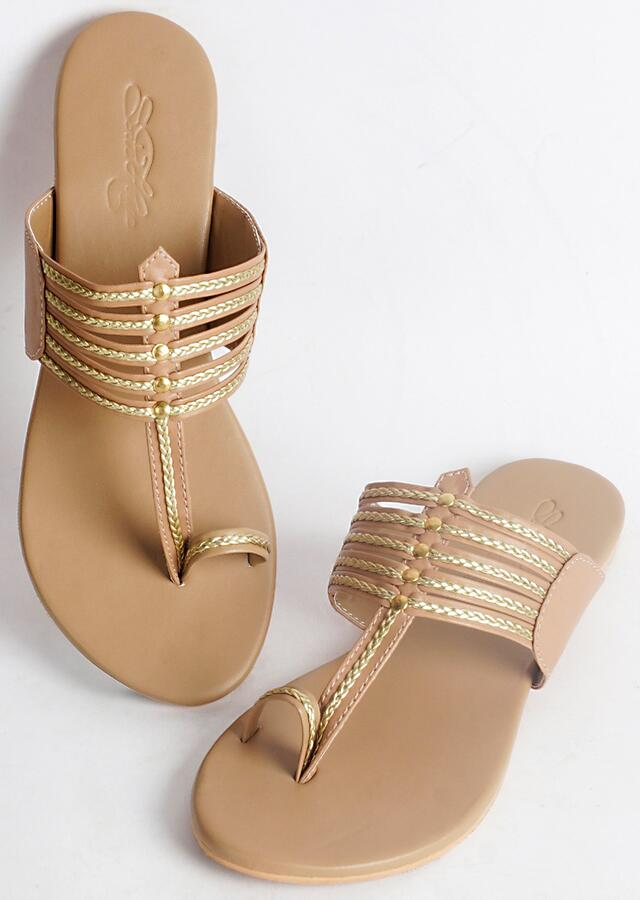 Nude Kolhapuri Flats With Gold Braiding And Gold Rivet  By Sole House