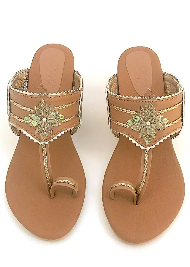 Nude Kolhapuri Heels With Zari Embroidered Motif And Block Heel By Sole House