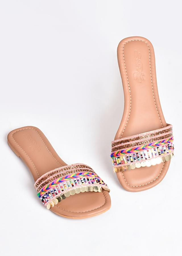 Nude Pink Boho Sliders With Bead And Thread Work By Sole House