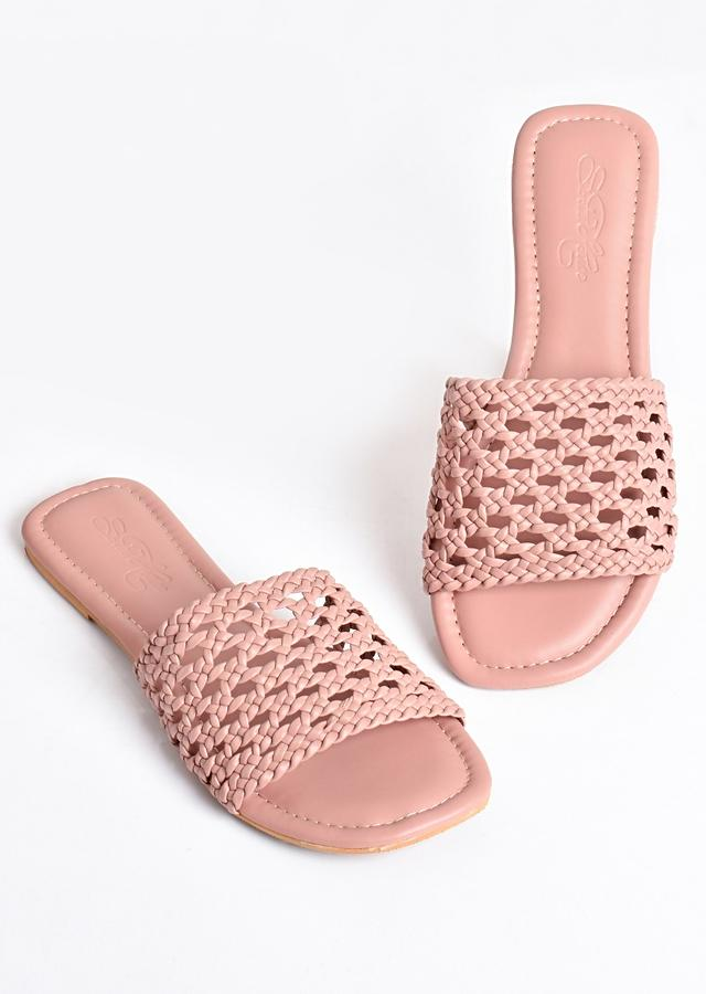 Nude Pink Flats With Hand Woven Mesh Design By Sole House