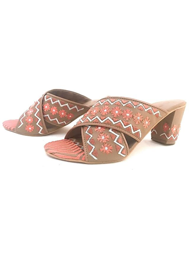 Nude Sliders With Peach And Gold Zari Embroidery In Floral Design Online By Sole House