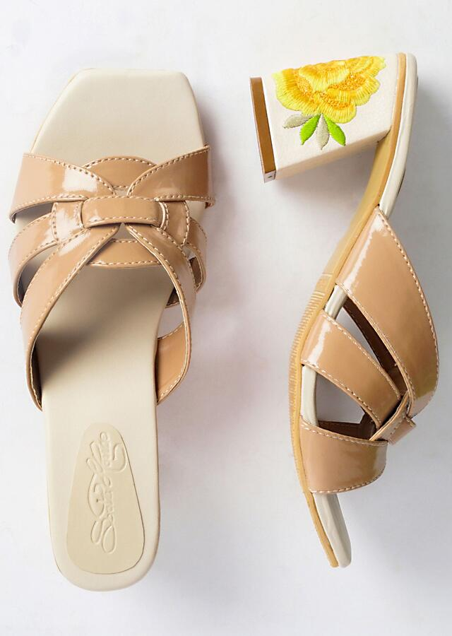 Nude Trapeze Block Heel With Resham Embroidered Flower On The Heel By Sole House