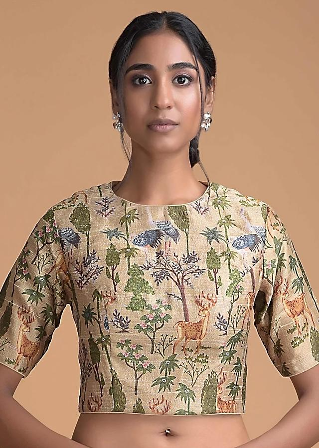 Oat Beige Blouse In Raw Silk With Nature Inspired Print Online - Kalki Fashion