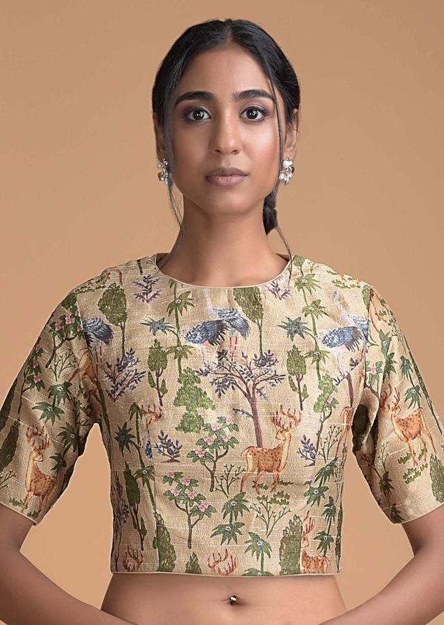 Oat Beige Saree In Organza Silk With Zari Work And Printed Blouse With Nature Inspired Print Online - Kalki Fashion