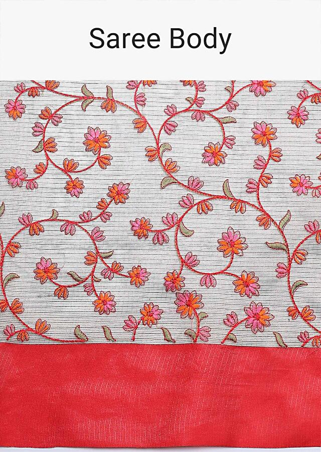 Oat Beige Saree With Red Border And Resham Embroidered Floral Jaal Online - Kalki Fashion